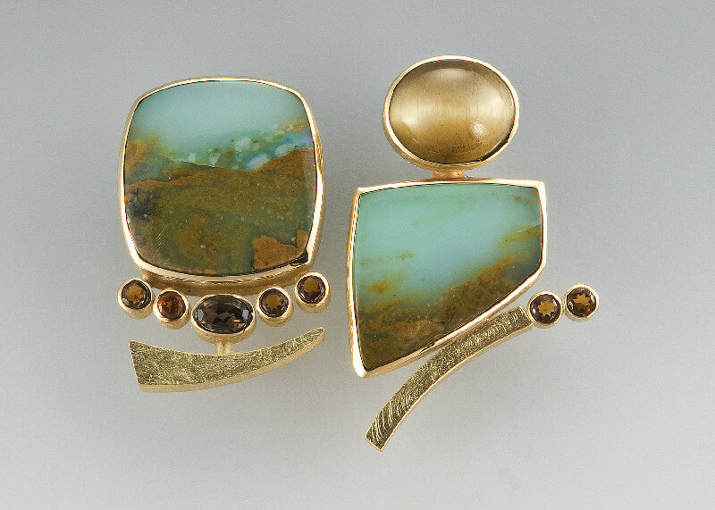Janis Kerman Earrings tiger eye, Peruvian opal, smokey quartz, citrine 18k