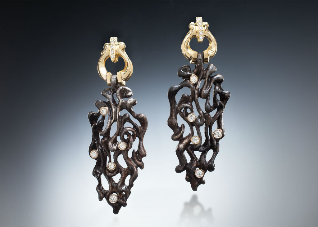 Blackened Steel, 18k Gold, and Diamond Long Earrings