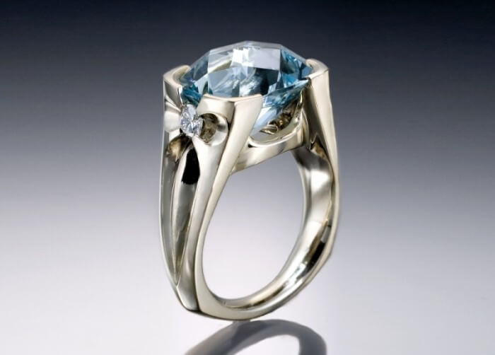 Aquamarine & Diamond Ring