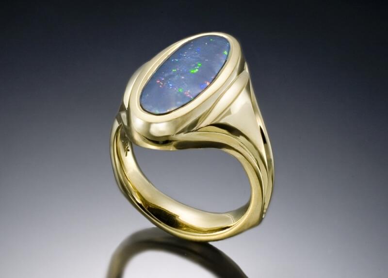 Black Opal Mens Ring Boston Custom Jewelry Skylight