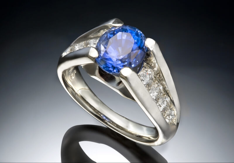 Blue Sapphire & Diamond White Gold Ring