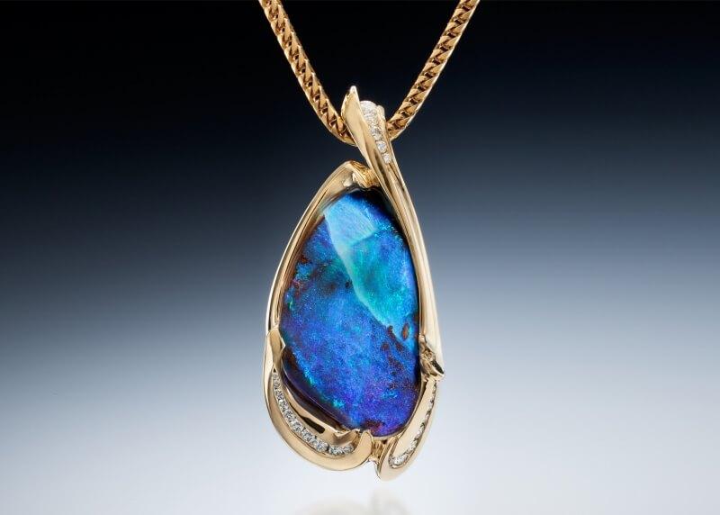 Boulder Opal 18K Pendant