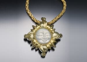 Carved Moonstone Sun Pendant
