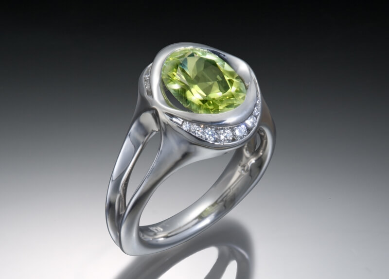 Chrysoberyl & Diamond Palladium Ring