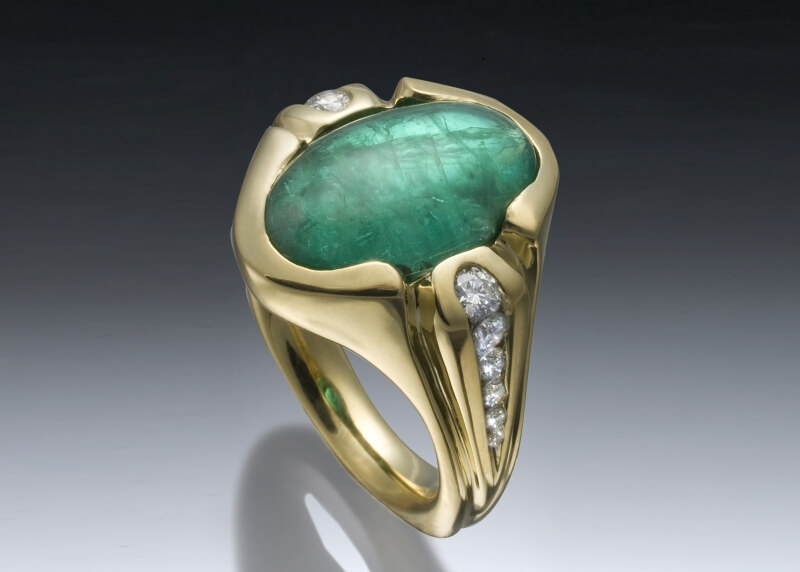 Emerald Cabochon Diamond Ring