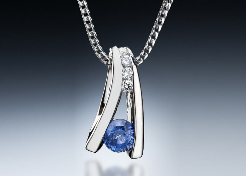 Floating Sapphire Pendant