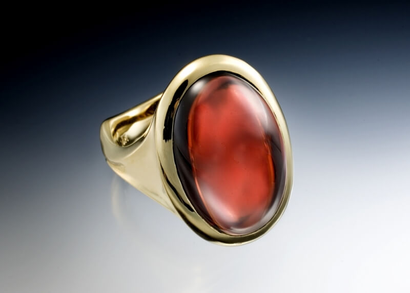 Garnet Cabochon Mens Ring