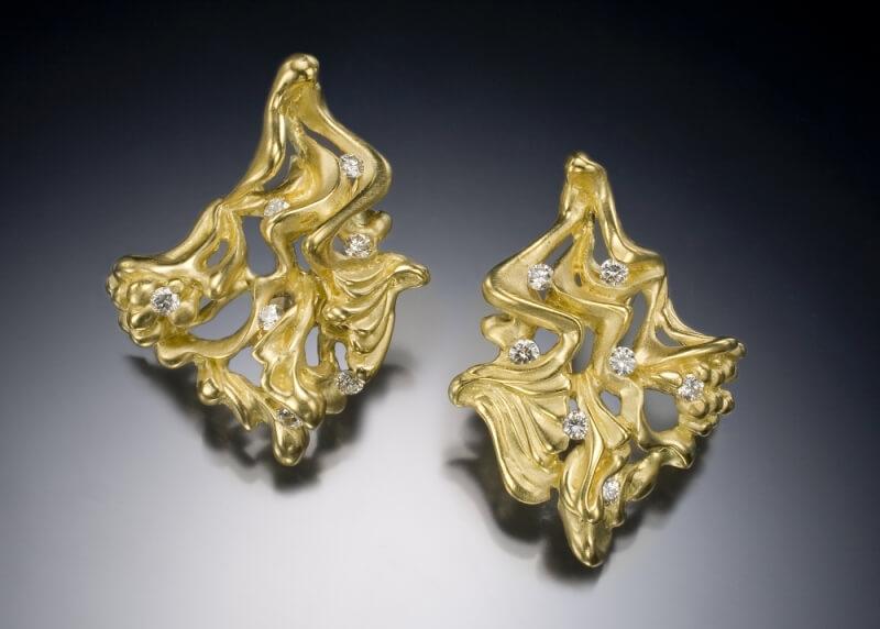 Gold & Diamond Bird of Paradise Earrings