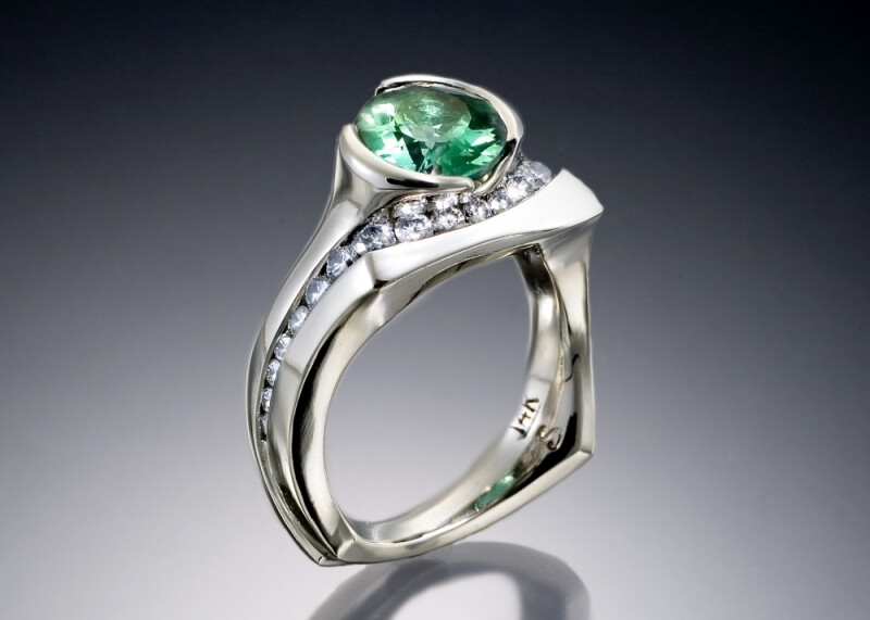 Green Tourmaline & Diamond Ring in White Gold