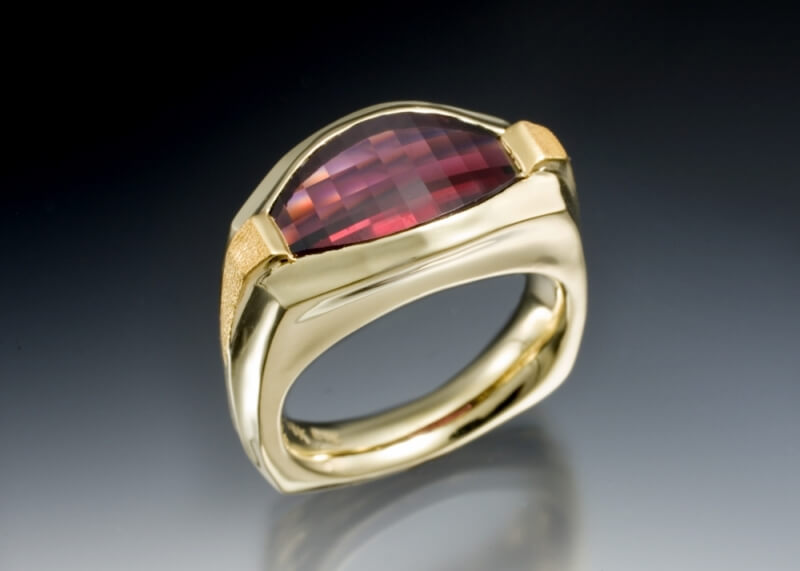 Mens Garnet Sunset Ring