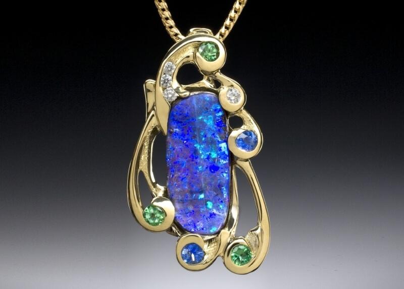 Opal, Diamond, Tsavorite & Sapphire Pendant