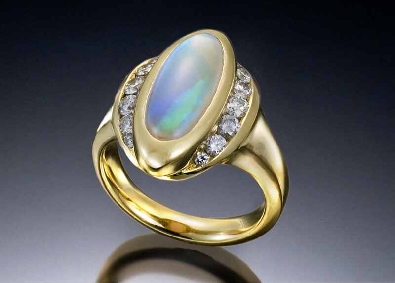 Fire Opal Marquis Ring