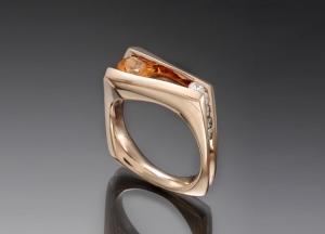 Floating Spessartite Ring