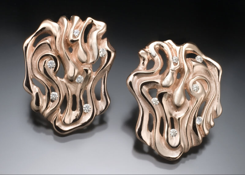 Rose Gold & Diamond Swirled Earrings