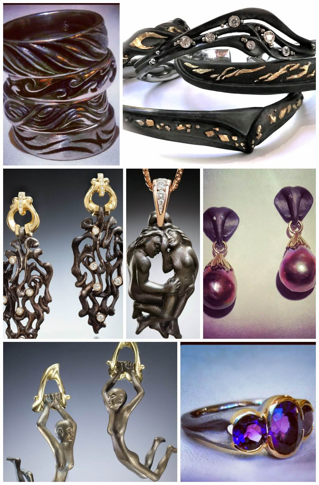 Collage of steel jewelry - earrings, rings and bracelet