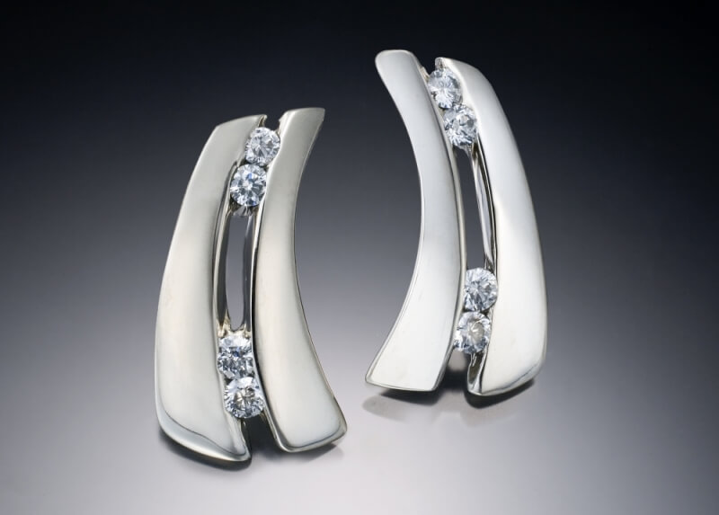 White Gold & Diamond Parentheses Earrings
