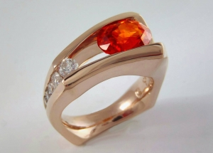 orange sapphire red gold floating ring