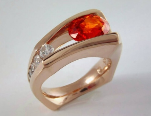Floating Orange Sapphire & Red Gold Ring