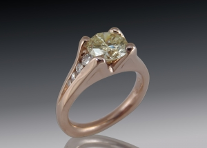 Yellow & white diamonds in rose gold ring