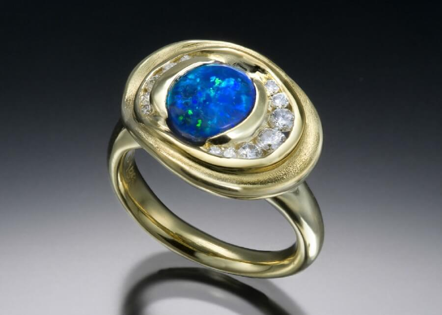 Black Opal Diamond 18K Ring