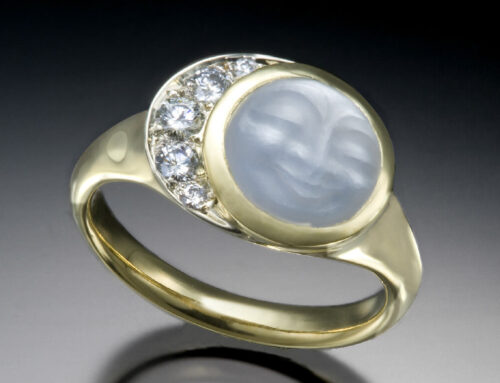 Moonstone Diamond Crescent Ring
