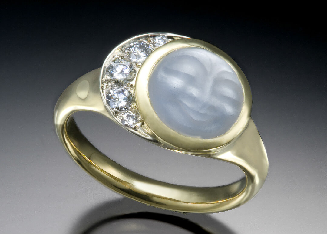 Carved Moonstone Face Diamond Crescent Ring