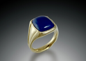 Mens Lapis Signet Style Yellow Gold Ring