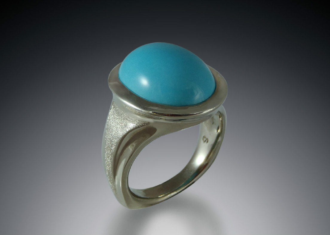 Turquoise Cabochon White Gold Ring