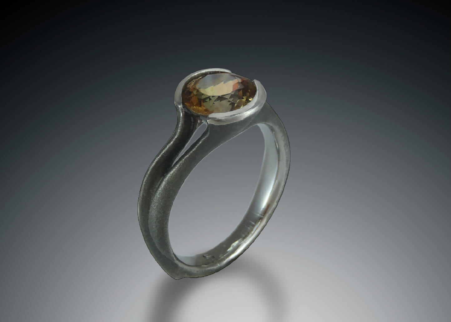 Blackened Steel Andalusite Ring
