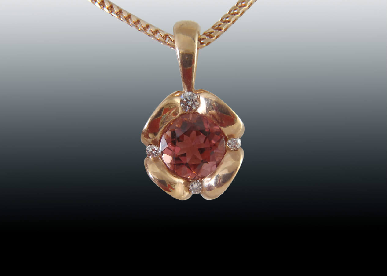 Pink Tourmaline Red Gold Pendant
