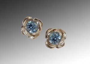 Aquamarine & White Gold Rose Stud Earrings