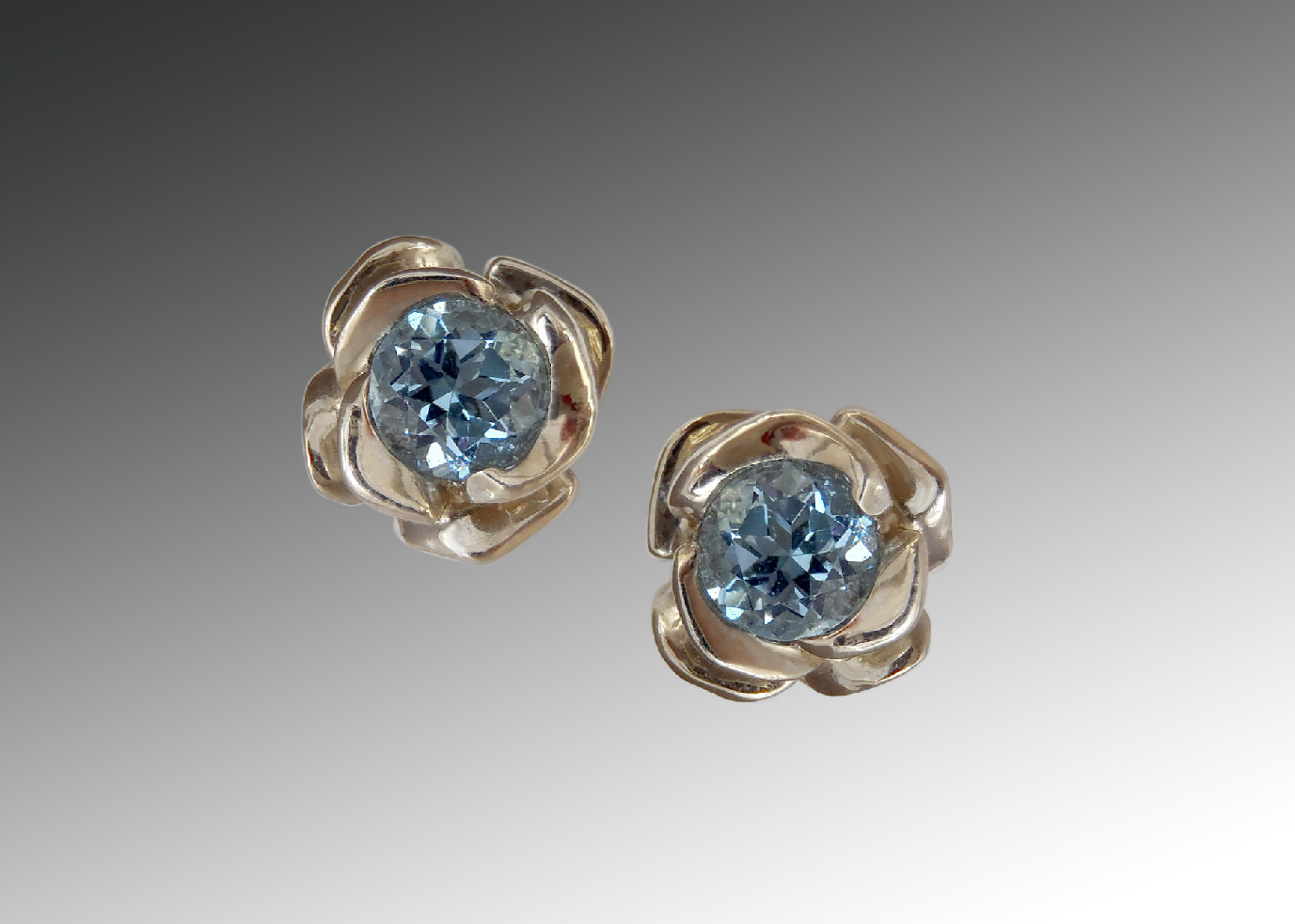 Aquamarine White Gold Rose Earrings