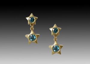 Tourmaline Star Dangle Earrings