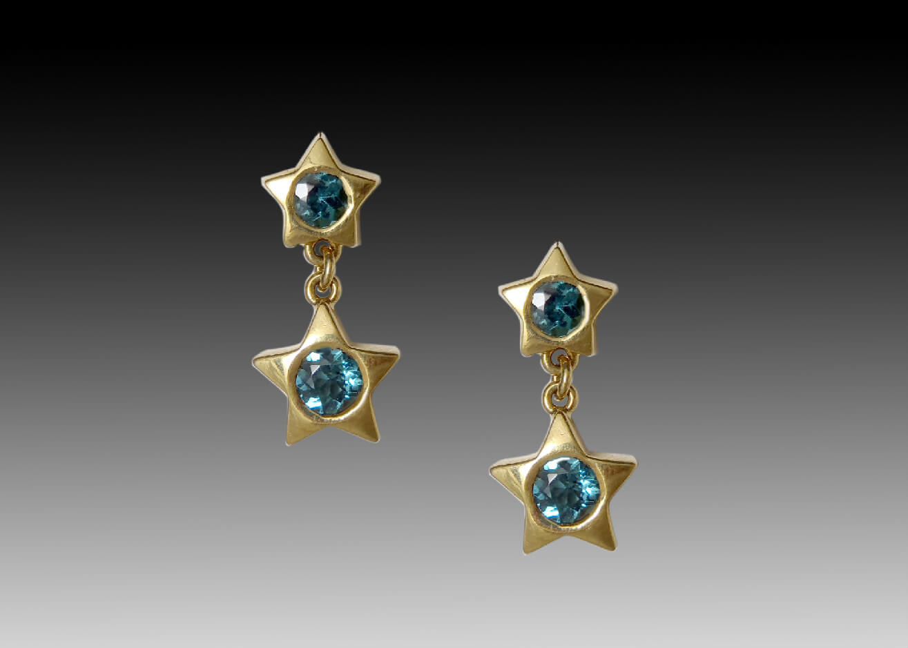 Tourmaline Star Dangle Earrings