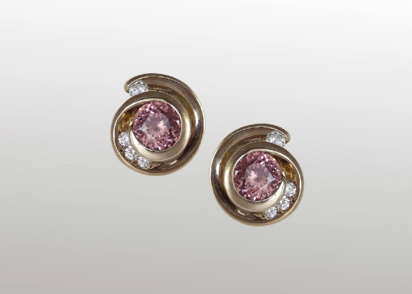 Cinnamon Zircon and Diamond Swirl Earrings in White Gold