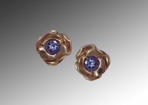 Purple Sapphire Rose Gold Earrings