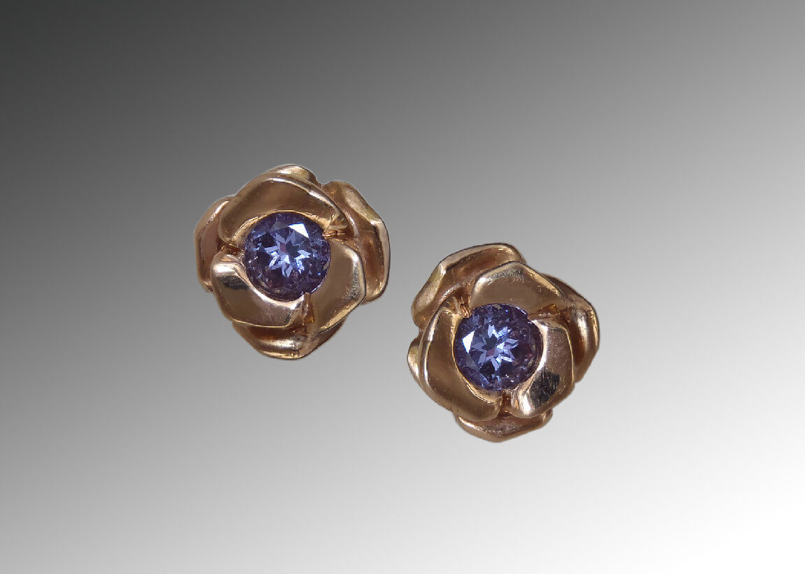 Purple Sapphire Rose Gold Earrings
