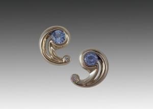 Sapphire Diamond White Gold Swirl Earrings