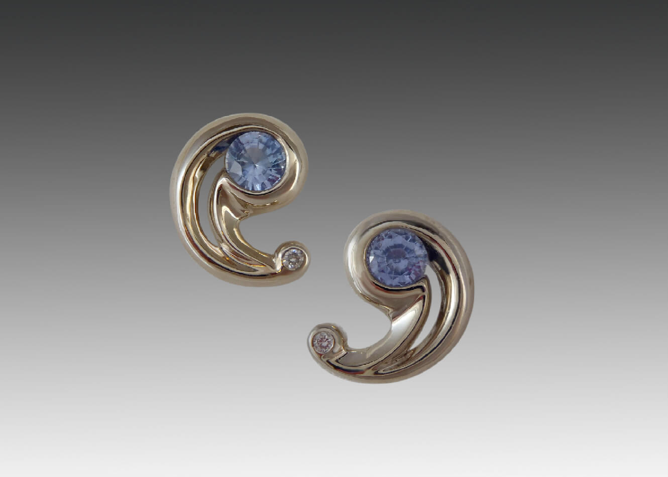 Sapphire Diamond White Gold Swirl Earrings