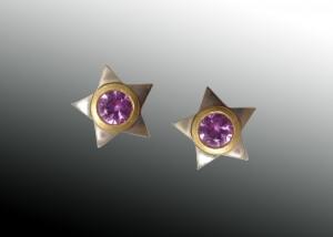Pink Sapphire Star Earrings