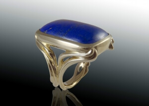 Art Nouveau Mens Lapis Ring