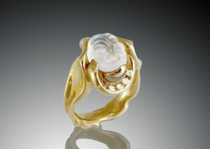 Asymmetrical Carved Moonstone Diamond Ring