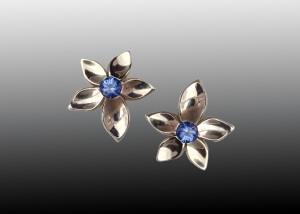 White Gold Tanzanite Jasmine Flower Earrings