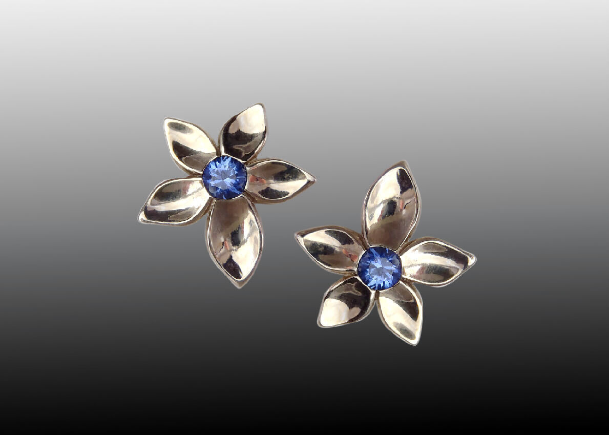 White Gold Tanzanite Jasmine Flower Earrings