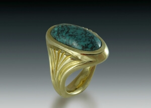 Jasper Cabochon Gold Ring