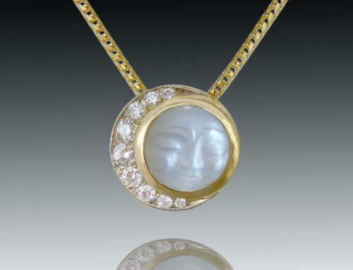 Moonstone Diamond Crescent Pendant