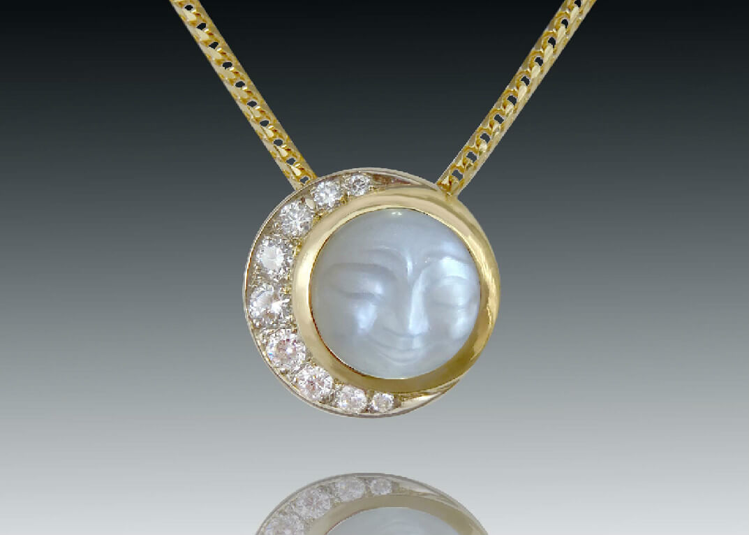 Carved Moonstone Diamond Crescent Pendant