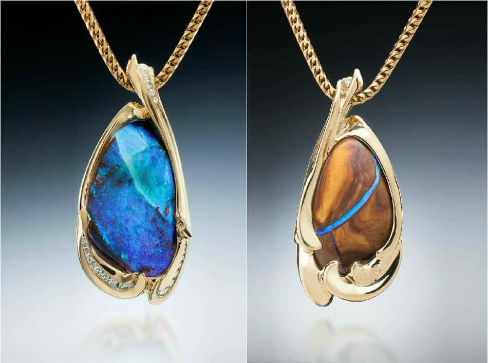 Boulder Opal & Diamond Pendant