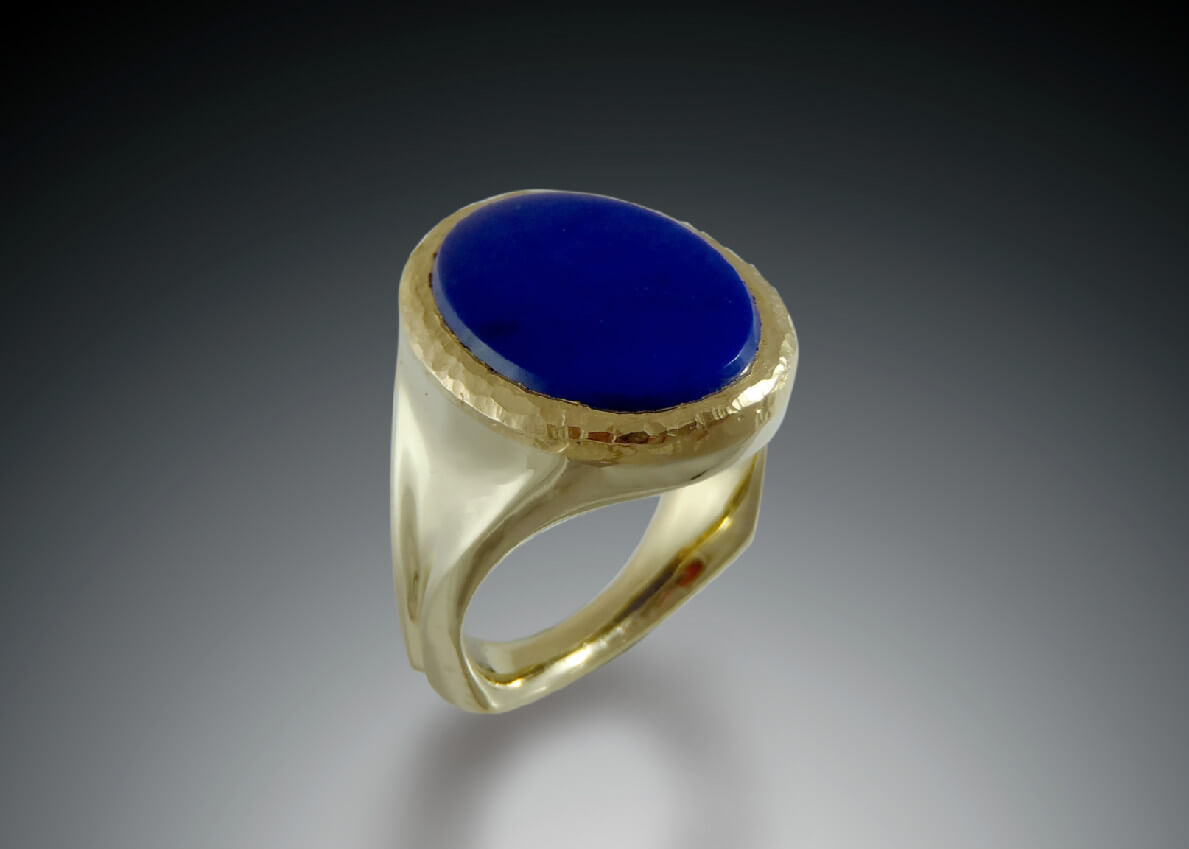 Lapis Hammered 18k Ring
