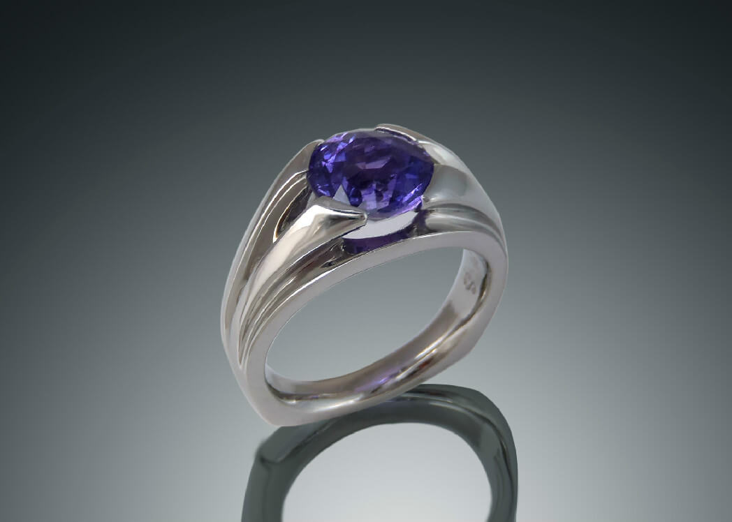 Palladium Grape Sapphire Wave Ring
